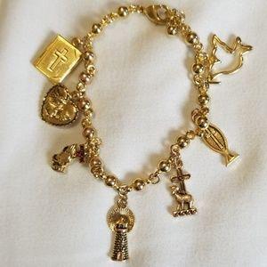 Jewelry - Religious Gold Charm Locket Bracelet
